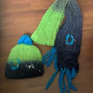 True Religion scarf and beanie set